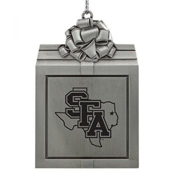 Stephen F. Austin State University-Pewter Christmas Holiday Present Ornament-Silver