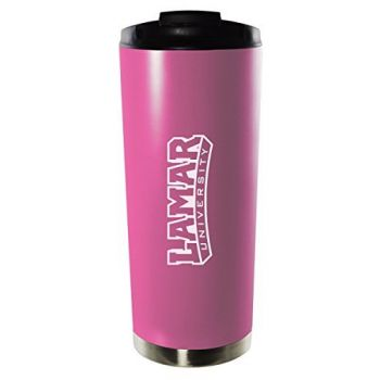 Lamar University-16oz. Stainless Steel Vacuum Insulated Travel Mug Tumbler-Pink