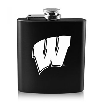 University of Wisconsin -6 oz. Color Stainless Steel Flask-Black
