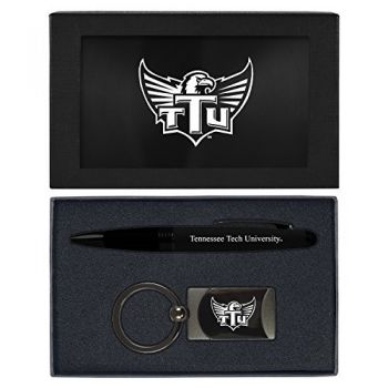 Tennessee Technological University -Executive Twist Action Ballpoint Pen Stylus and Gunmetal Key Tag Gift Set-Black