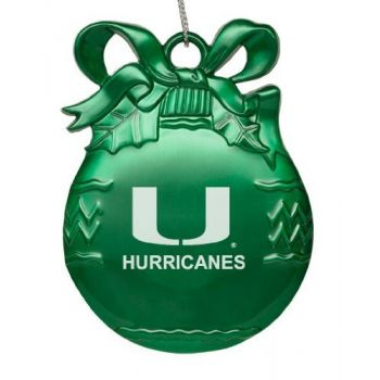 University of Miami - Pewter Christmas Tree Ornament - Green