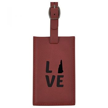 New Hampshire-State Outline-Love-Leatherette Luggage Tag -Burgundy