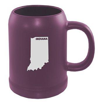 22 oz Ceramic Stein Coffee Mug - Indiana State Outline - Indiana State Outline