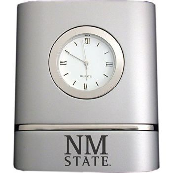 New Mexico State University- Two-Toned Desk Clock -Silver