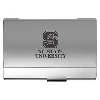 North Carolina State University - Two-Tone Business Card Holder - Silver