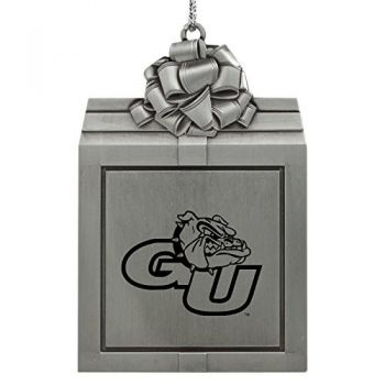 Gonzaga University -Pewter Christmas Holiday Present Ornament-Silver