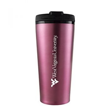 West Virginia University -16 oz. Travel Mug Tumbler-Pink