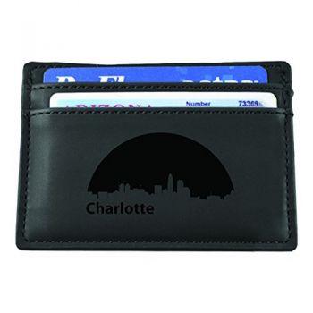 Slim Wallet with Money Clip - Charlotte City Skyline