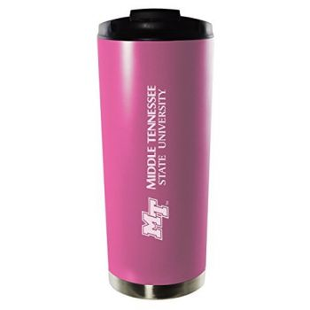 Middle Tennessee State University-16oz. Stainless Steel Vacuum Insulated Travel Mug Tumbler-Pink