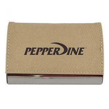 Velour Business Cardholder-Pepperdine university-Tan