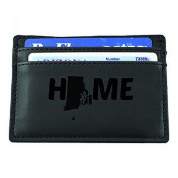 Rhode Island-State Outline-Home-European Money Clip Wallet-Black