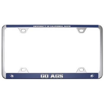 University of California, Davis -Metal License Plate Frame-Blue