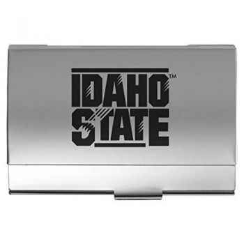 Idaho State University - Two-Tone Business Card Holder - Silver