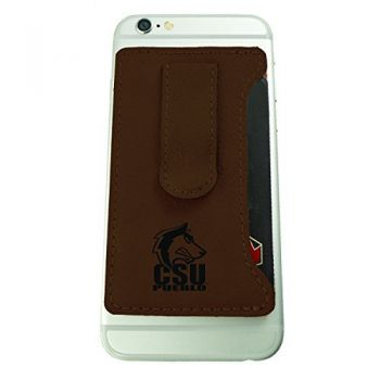 California State University, Pueblo-Leatherette Cell Phone Card Holder-Brown
