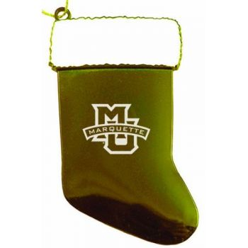 Marquette University - Christmas Holiday Stocking Ornament - Gold