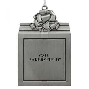 California State University, Bakersfield-Pewter Christmas Holiday Present Ornament-Silver