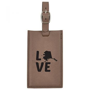 Alaska-State Outline-Love-Leatherette Luggage Tag -Brown