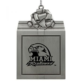 Miami University -Pewter Christmas Holiday Present Ornament-Silver