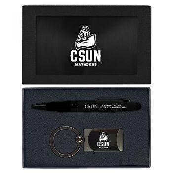 California State University, Northridge -Executive Twist Action Ballpoint Pen Stylus and Gunmetal Key Tag Gift Set-Black