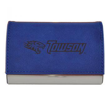 Velour Business Cardholder-Towson University-Blue