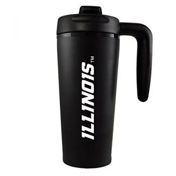University of Illinois -16 oz. Travel Mug Tumbler with Handle-Black