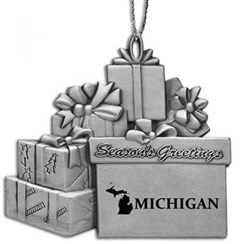 Michigan-State Outline-Pewter Gift Package Ornament-Silver