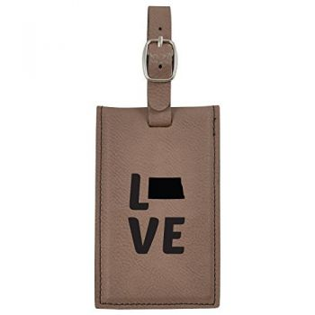 North Dakota-State Outline-Love-Leatherette Luggage Tag -Brown