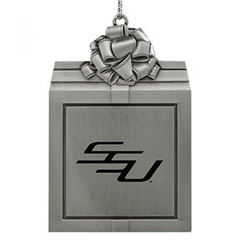 Savannah State University -Pewter Christmas Holiday Present Ornament-Silver