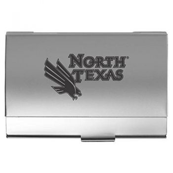 University of North Texas - Two-Tone Business Card Holder - Silver