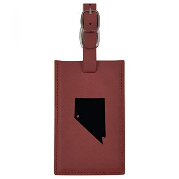 Nevada-State Outline-Heart-Leatherette Luggage Tag -Burgundy