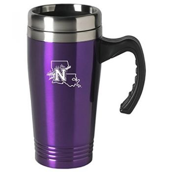 Northwestern State University-16 oz. Stainless Steel Mug-Purple