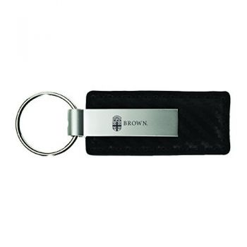 Brown University-Carbon Fiber Leather and Metal Key Tag-Black