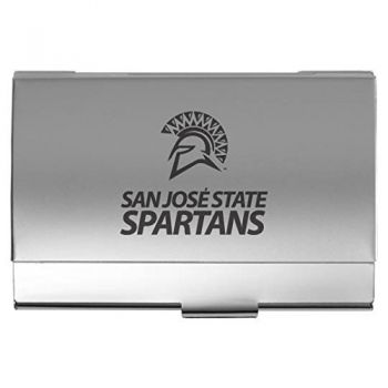 San Jose State University - Two-Tone Business Card Holder - Silver