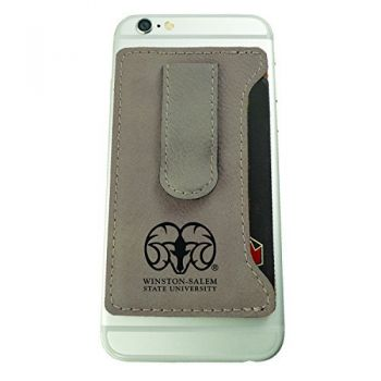 Winston-Salem State University -Leatherette Cell Phone Card Holder-Tan