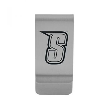 Siena College|Money Clip with Contemporary Metals Finish|Solid Brass|High Tension Clip to Securely Hold Cash, Cards and ID's|Gold