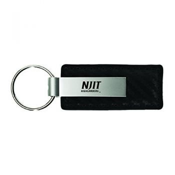 New Jersey institute of Technology-Carbon Fiber Leather and Metal Key Tag-Black