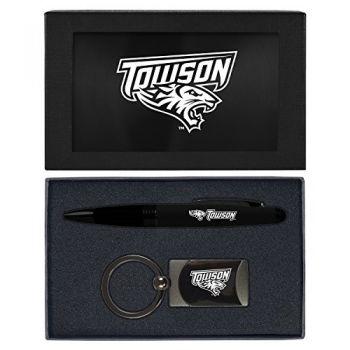 Towson University -Executive Twist Action Ballpoint Pen Stylus and Gunmetal Key Tag Gift Set-Black