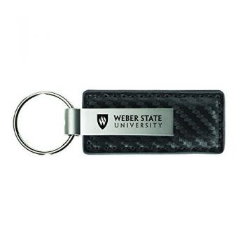 Weber State University-Carbon Fiber Leather and Metal Key Tag-Grey