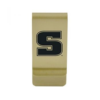 Siena College|Money Clip with Contemporary Metals Finish|Solid Brass|High Tension Clip to Securely Hold Cash, Cards and ID's|Silver