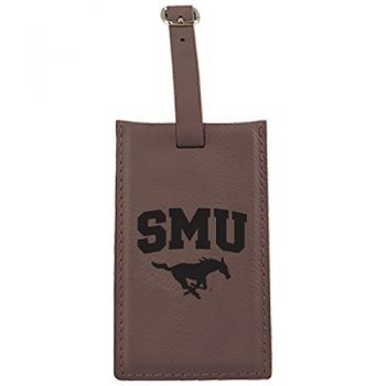 Southern Methodist University -Leatherette Luggage Tag-Brown