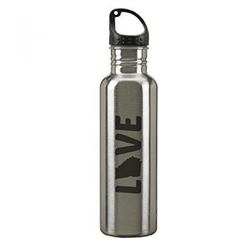 Georgia-State Outline-Love-24-ounce Sport Water Bottle-Silver