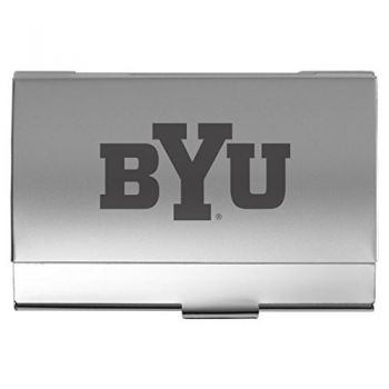Brigham Young University - Two-Tone Business Card Holder - Silver