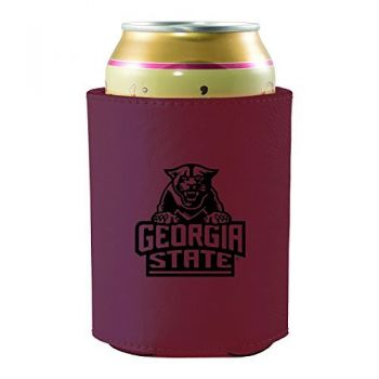 Georgia State University -Leatherette Beverage Can Cooler-Burgundy