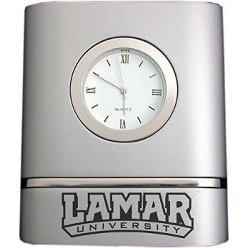 Lamar University- Two-Toned Desk Clock -Silver