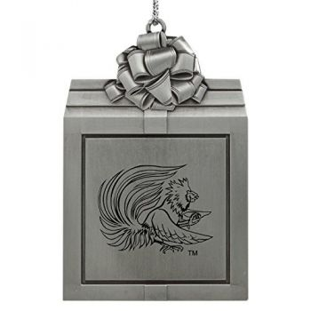 Jacksonville State University-Pewter Christmas Holiday Present Ornament-Silver