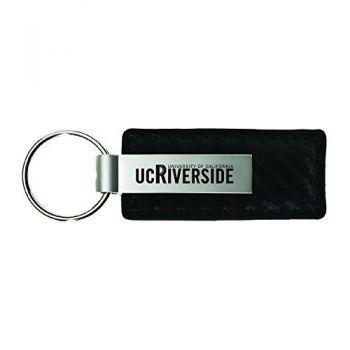 University of California, Riverside-Carbon Fiber Leather and Metal Key Tag-Black