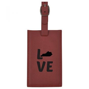 Kentucky-State Outline-Love-Leatherette Luggage Tag -Burgundy