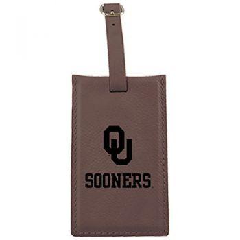 University of Oklahoma-Leatherette Luggage Tag-Brown