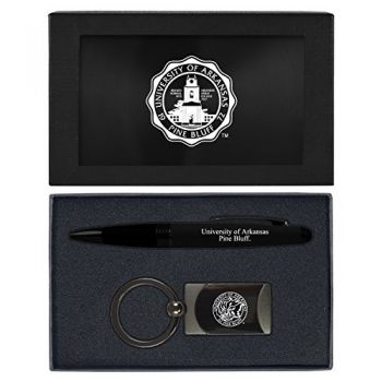 University of Arkansas at Pine Buff -Executive Twist Action Ballpoint Pen Stylus and Gunmetal Key Tag Gift Set-Black