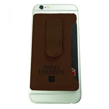 DePaul University -Leatherette Cell Phone Card Holder-Brown
